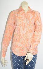 Orange Paisley Long Sleeve Top Chaps Size Large L Button Down Shirt Pastels EUC!