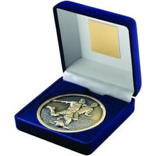 Blue Velvet Box And Medal Football Trophy Antique Gold 4in FREE Engraving