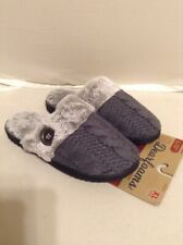 Dearfoams Womens Slippers Gray Button for Looks X Large (11-12) Retails $32.00
