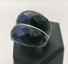 anello donna argento 925 fascia occhio di gatto blu GIOIELLO ITALIANO