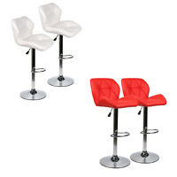 Set of 2 Bar Stool PU Leather Adjustable Swivel Dining Counter Chair Bar Table