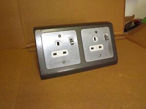 Old School Lab Metal  Desk Mounted Mains Pug Socket UK 3 Pin  (301C)