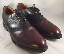 Johnston Murphy Mens Aristocraft Brogue Burgandy Saddle Golf Shoes Size 12 3E