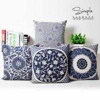 """Vintage Oriental Blue Floral Linen Pillow Case Decorative Cushion Cover 18""""x18"""""""