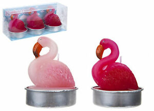 SET OF 3 LARGE FLAMINGO CANDLES IN 2 ASSORTED COLOURS