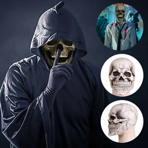 Halloween Full Head Skull Mask Helmet W/ Movable Jaw Party Latex Prop Headgear