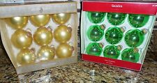 Ornaments Christmas Tree New Jaclyn Smith Sandra Lee Glass- Green & Gold Decor