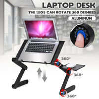 with 2 Cooling Fans 360° Adjustable Folding Notebook Laptop Desk Bed Table Stand