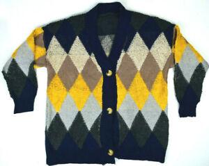 | Vtg 80s Draped Indigo Boucle Knit Oversized Grunge Cardigan size M L XL