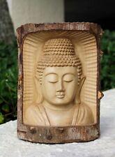 Wooden Hand Carved Buddha Head Crocodile Wood Decor Statue Sculpture Figurine