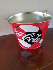 NEW COKE COCA COLA LARGE METAL ICE BUCKET BOTTLE CARRIER HANDLE FOOTBALL ADVERT