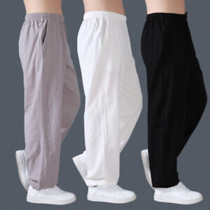 Linen Kung Fu Tai Chi Pants Martial Arts Trousers Casual Loose Pants Men Women