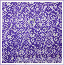 BonEful Fabric Cotton Quilt VTG Purple White Flower Girl Toile Damask Lace SCRAP