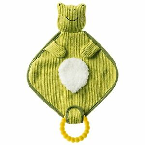 Mary Meyer Knitted Nursery Lovey with Silicone Teether, 10-Inches, Frog