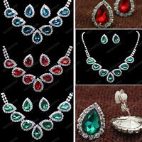 AUSTRIAN CRYSTAL red green NECKLACE&EARRINGS teardrop GLASS silver rhinestone