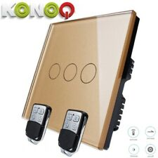 KONOQ Lux.Glass Panel Touch LED Light Smart Switch:GOLD REMOTE DIMMER 3GANG/1WAY