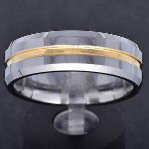 8mm Tungsten Carbide Gold GP Grooved Center Stripe Band Men's Wedding Ring TR