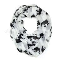 Elephant Wild Animal Print Block Circle Loop Wrap Infinity Scarf Casual Fashion