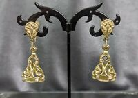 Lovely Vintage gold-tone  Fob Charm Seal Screw Back Earrings
