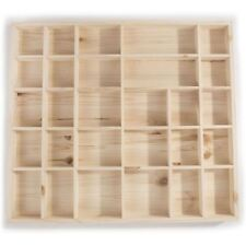 Wall Hanging Wooden Trinket Display Shelf / 28 Compartments / 450 x 400 x 40 mm