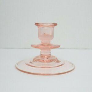 Vintage Single Clear Pink Depression Glass Taper Candle Stick Holder