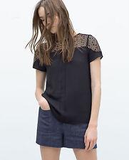Zara Waist Length Lace Crew Neck Tops & Shirts for Women