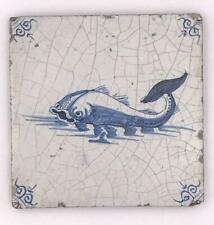 "Antique Delft Blue White Faience Pottery 5"" Tile with Dolphin Fish"