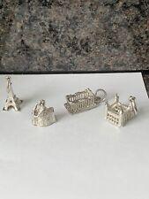 Sterling Silver Charms Set X 4 Paris*Rome*London*Greece