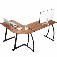 Modern Bright Walnut L Shaped Corner Computer Home Desk Laptop Study Workstation