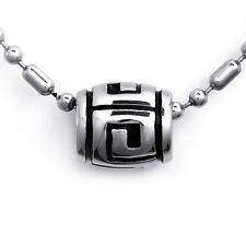 Black Silver Stainless Steel Buddhist Prayer Transport Bead Pendant Necklace