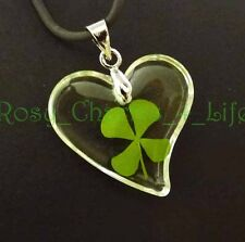 "Real four leaf clover pendant with heart shape cord 19"" with extension"