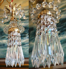1o2 SWAG baby Jelly Fish ins vintage Lamp Chandelier brass Beaded crystal glass