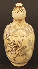 Chinese carved stag bone vintage Victorian antique bird design snuff bottle