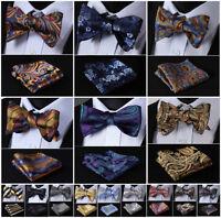 Hisdern Floral Men Woven Self Bow Tie Silk Wedding Party Handkerchief Set #G6
