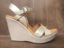Kork Ease Bette 2.0 Tan Patent Leather Women's Platform Heeled Wedge Sandals 9