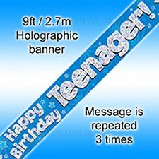 Happy Birthday Teenager Blue Holographic 9ft Banner