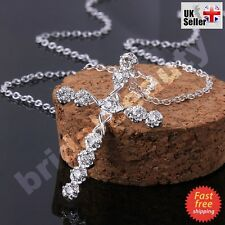 Women Girl Crystal Cross Pendant Necklace Silver Chain Jesus 1st Holly Communion