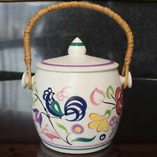 Poole Pottery Hand-Painted Biscuit Barrel, circa 1960's, Flowers & Birds
