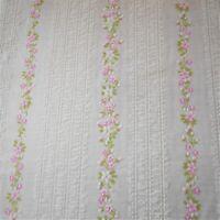 Vintage RARE Sheer Flocked Voile Fabric Striped Plisse & Pink Floral BT 1/2Yard