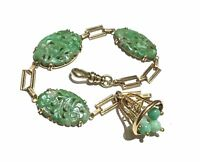 Chinese green Carved Jadeite Jade & 14K gold charm bracelet.