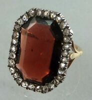 2.75cts ROSE CUT DIAMOND GARNET ANTIQUE VICTORIAN LOOK 925 SILVER COCKTAIL RING