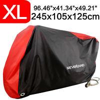 XL Housse Bâche de Moto Couverture Etanche Respirable Contre UV Pluie Rouge&Noir