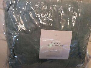 Restoration Hardware Vintage Velvet Drape French Pleat 48x108 Spruce Green