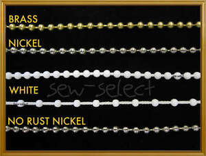 Roller blind metal chain white beaded cord silver brass - SOLD PER 2 METRES