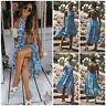 AU Women's Boho Floral Maxi Long Dress Beach Summer Evening Party Beach Sundress
