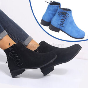 Women's Ladies Ankle Boot Lace Up Side Zipper Retro Casual Casual Short Bootie