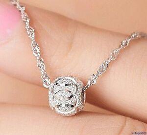 Damen Halskette mit Anhänger Rund Charm Glänzend 925 Silber plattiert NEU 51A