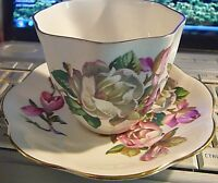 Antique Floral HERITAGE Made in England Cup & Saucer Bone China, Scalloped