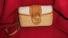 COACH Woven Straw/ Leather Clutch NWT detachable Wrist strap MSRP$178