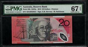 AUSTRALIA - PICK 59h - 20 DOLLARS - 2013 - PMG GEM UNC 67 EPQ - PREFIX AD